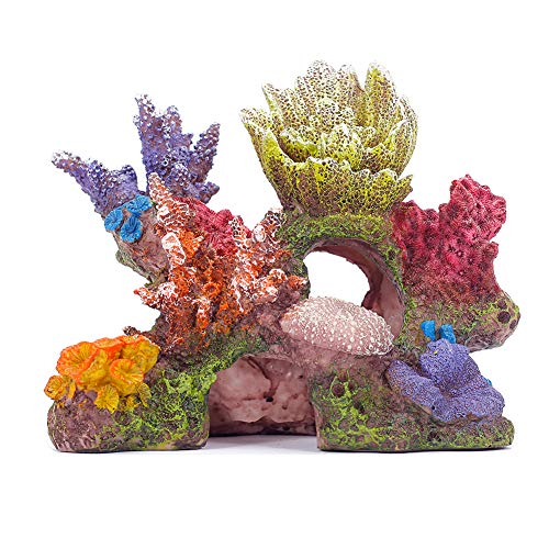 Miracliy Coral Reef Decorations Artificial Rock Decoration Vivid Mountain Cave Environments Ornaments Fish Tank Resin Deorations