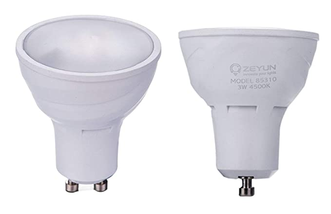ZEYUN Bombilla LED GU10 con reflector de oscuridad hasta el amanecer, 3W, interruptor automático