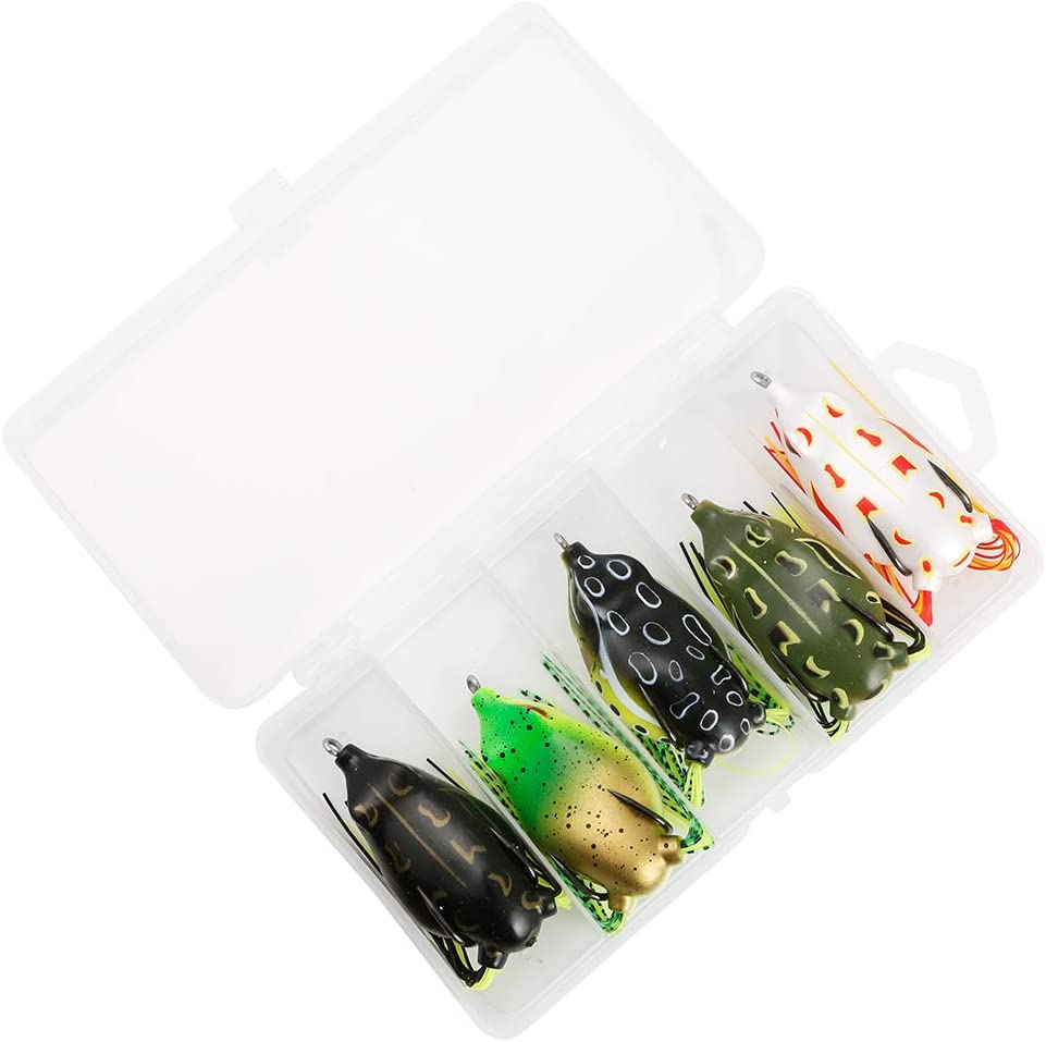 JOHNCOO 5pcs Topwater Frogs Soft Plastic Frog Box Fishing Lures Set Artificial Baits Weedless Lures for Snakehead Dogfish Musky Bass