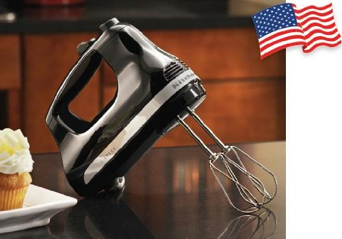 Kitchenaid (ASSEMBLED IN GREENVILE OHIO USA) 5 Speed Mechanical Speed Control Powerful Ultra Power Hand Mixer Swivel Cord Onyx Black