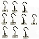 MXTECHNIC Magnetic Hooks Powerful 12LB Neodymium Magnet Heavy Duty stainless steel super strong magnetic metal hooks large or small 10 pack Multi Use indoors/outdoors Declutter and Add Storage