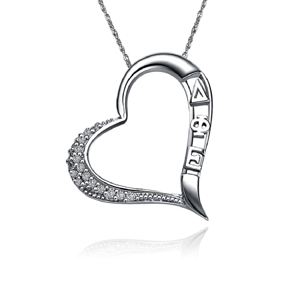 """Greek Star Delta Phi Epsilon Necklace with a 18"""" Silver Chain - Embedded Heart Design (DPE-P005)"""