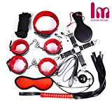 10 Pcs Restraint Kits with Plush comfortable Handcuffs and Ankle Cuffs Medical Grade Straps Fits Almost Any Size Mattress(Black and Red)