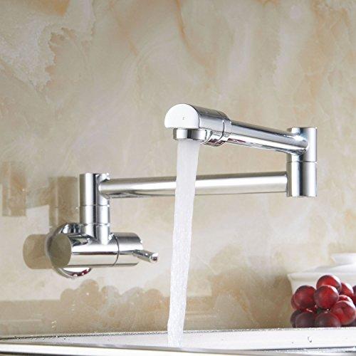 YAJO Modern Kitchen Sink Wall Mount Single Handle Pot Filler Faucet Swing Swivel Spout Cold Water Only, Chrome Polished (Swing Swivel Spout)
