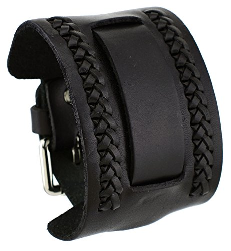 Nemesis NW-K Black Wide Leather Cuff Wrist Watch Band ()