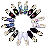 E-LOV White Low Top Blank Canvas Shoes Adults Young Casual Loafers Slip On Summer Flat Sports Shoe Footwear (9.5 B(M) US Women/8 D(M) US Men #41, W)