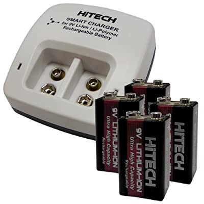 Hitech - Four 9V Lithium-Ion Batteries and Charger Set