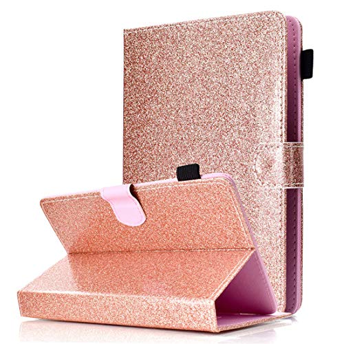 Universal 9-10 inch Tablet Case, ANGELLA-M Bling Glitter Sparkle Luxury PU Leather Cover Multiple Viewing Angles Stand, Case NeuTab N11 Plus - Rose Gold