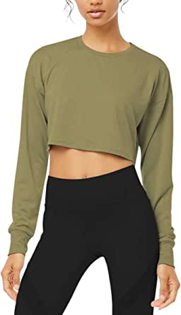 Bestisun Long Sleeve Crop Top Cropped Sweatshirt for Women with Thumb Hole