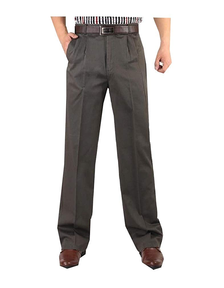 Andopa Mens High Waist No Iron Relaxed Fit Pleated Front Work Pants