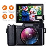 AMKOV Video Camera Digital Camera Vlogging Camera 1080P Camcorder with 4X Zoom, 1 Rechargeable Batteries, 3 Inch 180°Camera Flip Screen Retractable Flashlight Easy Operation to Seniors/Kids