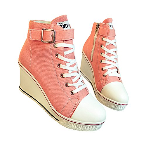 Toile Femme À Talons Hauts Plateforme Wedge Mode Sneaker Pompe Chaussures Rose