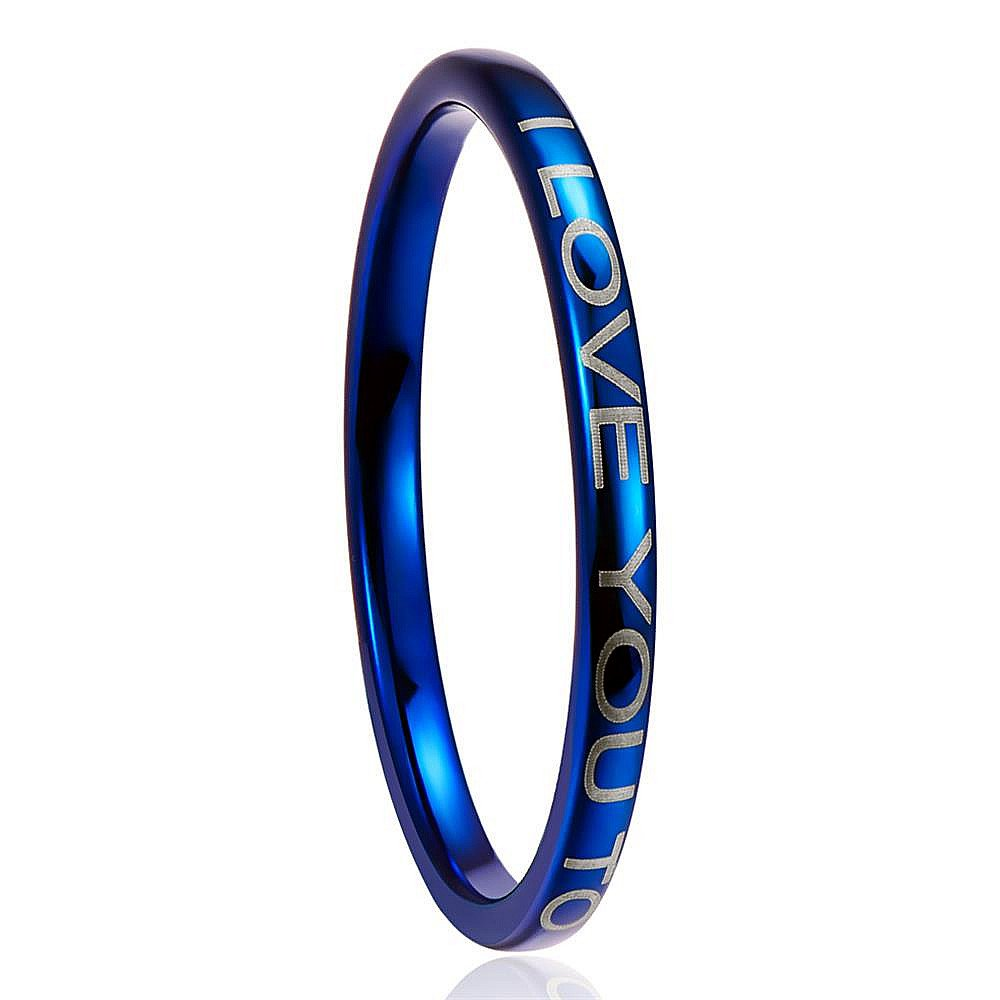 Nuncad Men's 2MM Blue Tungsten Wedding Ring Engraved I LOVE TO THE MOON AND BACK Size 8