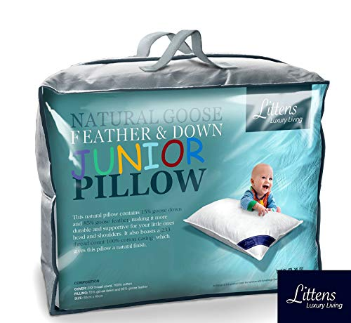 Junior Cot Bed Size Goose Feather & Down Pillow, 230TC 100% Cotton, Down...