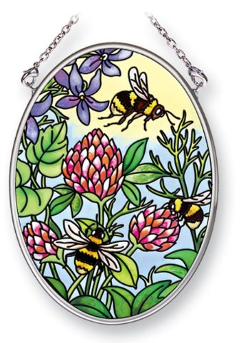 Amia 41456 Florals and Bees 3-1/4 by 4-1/4-Inch Oval Sun Catcher, Small