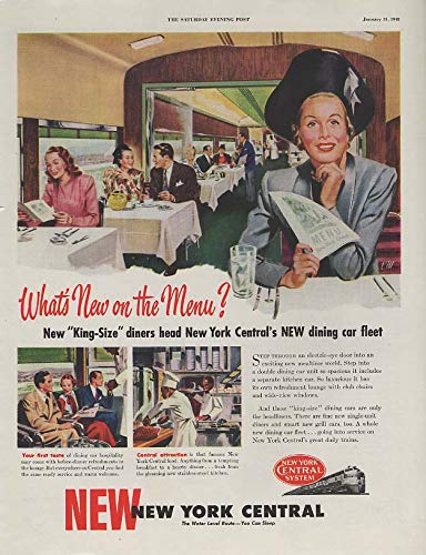 What's New on the Menu? New York Central Railroad dining car ad 1948 SEP from The Jumping Frog