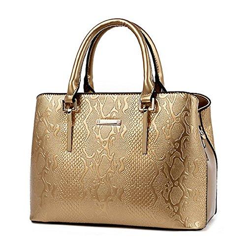 SANSJI Bolsa retro Bolso de mano bolso de hombro en elegante charol de mujer Oro