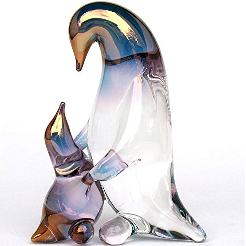 Baby Penguin Figurine - Penguin Mother and Baby Figurine of Hand Blown Glass