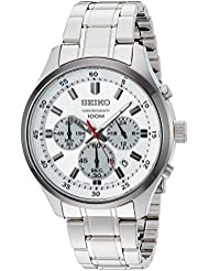 Seiko Mens SPECIAL VALUE Quartz Stainless Steel Casual Watch, Color:Silver-Toned (Model: SKS597)