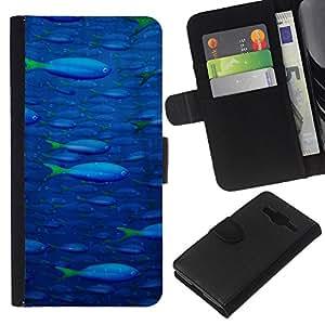 KingStore / Leather Etui en cuir / Samsung Galaxy Core Prime / Pintura de los pescados de mar del océano azul de Vida Silvestre de la nadada Arte