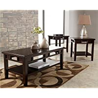 3 Pc Occasional Table Set Dark Brown Accent Table