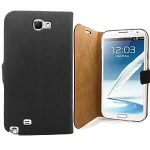 Accessory Master - Funda de piel tipo libro para Samsung Galaxy Note 2 S7100, color negro