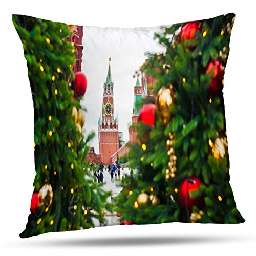 Lshtar Throw Pillow Covers, Russia January New Year and Christmas Holidays Trees Square Tower for Sofa Cushion CoverShort Plush Design Decoration Home Bed Pillowcase 18x18 inch (Manezhnaya Square)