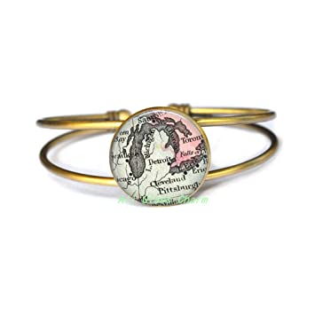 Amazon.com : AllGlassCharm Detroit Charming Map-Map Jewelry-Detroit ...
