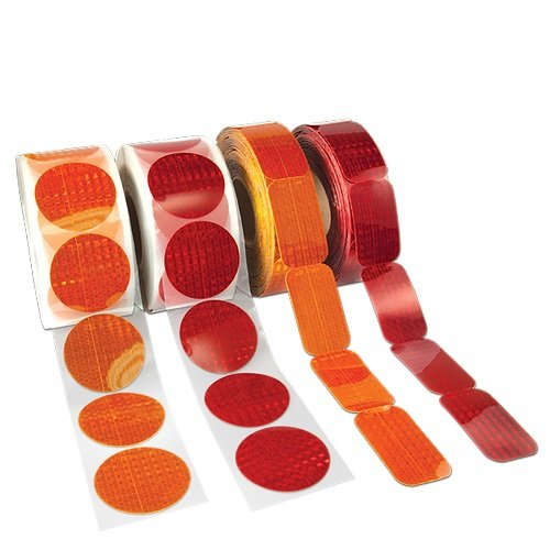 ifloortape DOT-SAE Red Dot 3 Inch Round High Visibility Reflective Stick On Reflector 4 decal pack