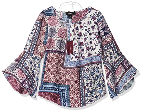 Amy Byer Big Girls' 7-16 Bell Sleeve Top, Plum/Navy Abstract Patchwork, L
