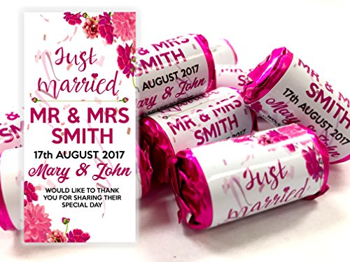 Personalised Mini Love Hearts Wedding Favours Just Married for Guests Gift Thank You Table Favours. Each roll Contains 7 Individual Sweets Suitable for Vegetarians (60)