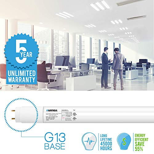 (24 Pack) Parmida 4FT LED T8 Hybrid Type A+B Light Tube, 18W, Single-Ended OR Double-Ended Connection, 5000K, 2300lm, Frosted Cover, T8/T10/T12, Works with/Without Ballast, Shatterproof, UL & DLC by Parmida LED Technologies (Image #3)
