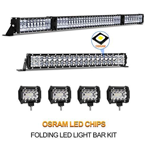 "LED Light Bar Kit, Rigidhorse 32000LM 52 Inch + 22 Inch Flood Spot Beam Combo White LED Light Bars + 4PCS 4"" LED Light Pods for Jeep Truck ATV, 3 Years Warranty"