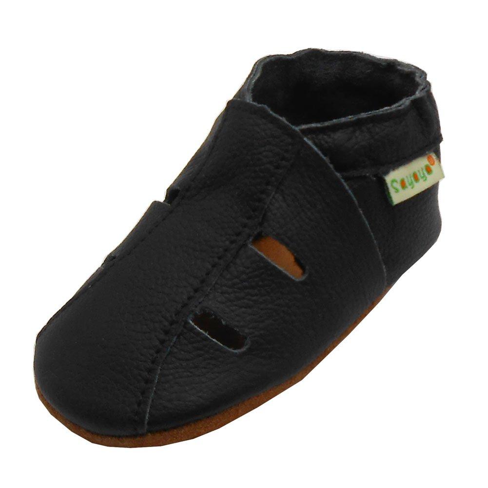 Sayoyo Baby Soft Sole Leather Infant Toddler Prewalker Black Shoes Sandal