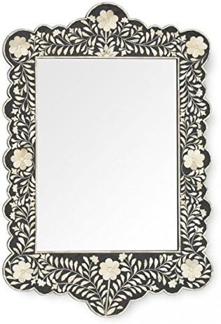 Antique Rustic Black Bone Inlay Scalloped Mirror Handmade Inlay Furniture