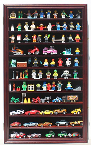 (Hot Wheels Matchbox 1/64 Scale Diecast Display Case Cabinet Wall Rack w/ with Lockable Door (Mahogany Finish))