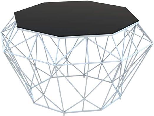 Mesa de Centro Octogonal, Tablero de Mesa de Vidrio Templado Negro ...
