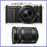 Olympus PEN E-PL8 Mirrorless Micro Four Thirds Digital Camera with 14-42mm Lens [Black] + Olympus M.Zuiko Digital ED 40-150mm f/4.0-5.6 R Lens [Black]