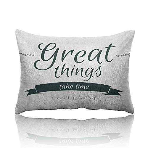 "Quotes Standard Pillowcase Modern Inspirational Lettering Great Thing Take Time Dont Give up Lifestyle Pillowcase Protector 20""x26""Black White"