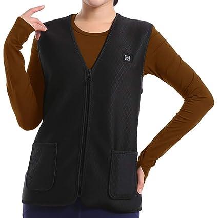 mujer con calefacción chaleco recargable recarga usb chaqueta eléctrica calefacción ropa ajustable invierno cálido chaleco lavable y seguridad ...