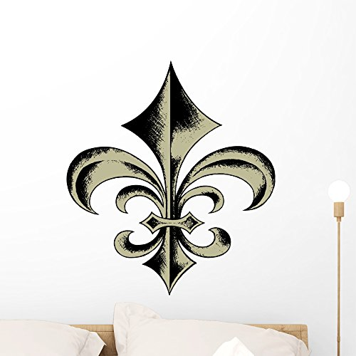 Wallmonkeys Fleur Lis Sketch Wall Decal Peel and Stick Graphic (24 in H x 21 in W) - Decal Wall Fleur