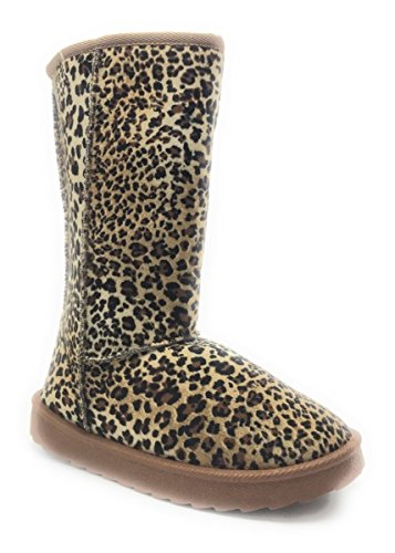 Nieuwe Mode Winter Half Kalf Comfort Platte Laars Schoenen Leopard / Chulis
