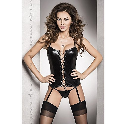 BES BLACK CORSET FETISH GARTER AND THONG by PASSION WOMAN (Thong Passion)