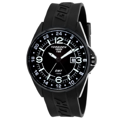 Torgoen - T25301 - Gents Watch - Analogue Quartz - Black Dial - Black Rubber Strap