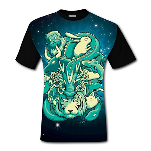 Y88 G77 Chinese Zodiac T-shirts Tops Short Sleeve Tee Shirt Sports Style for Men M (Christmas Synchronized Diy Light Show)