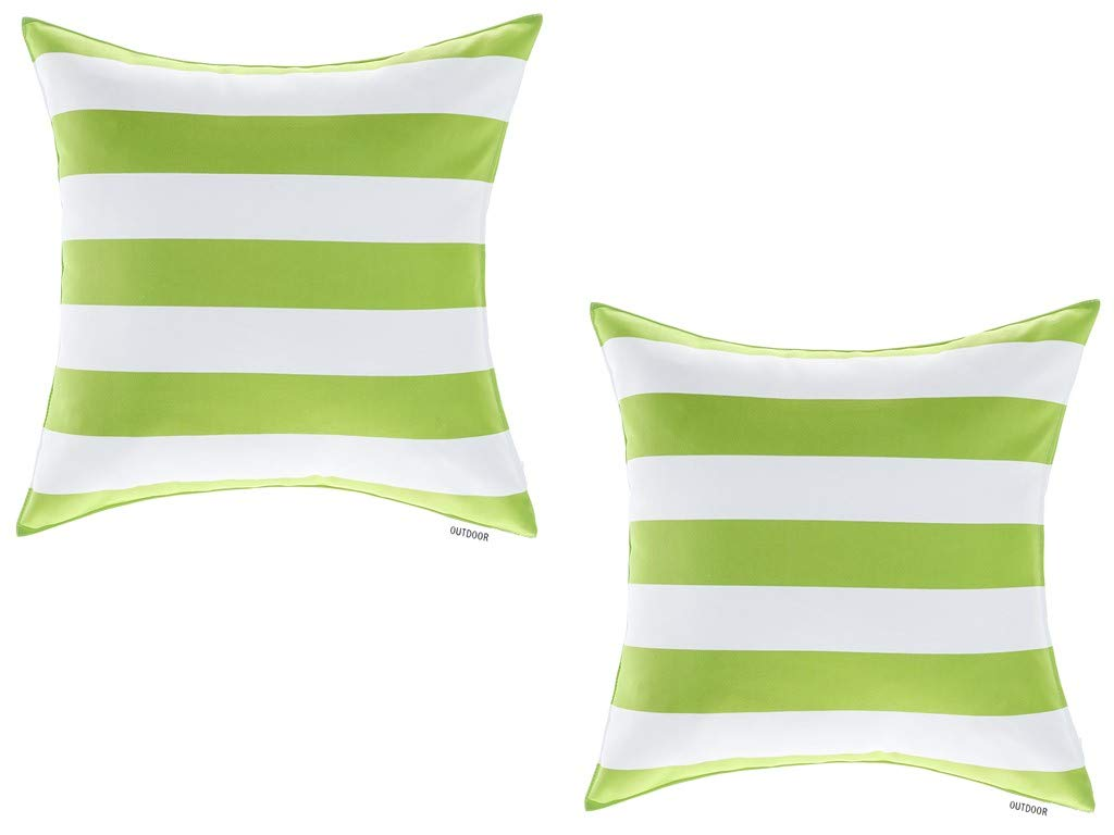 ALEXANDRA S SECRET Patio Furniture Outdoor Decorative Pillow Cushion Cover, Set of 2, Zipper Closure, Classic Stripe Design, Water UV Fade Stain-Resistance 18 X 18 , Kiwi