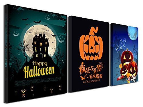 Gardenia Art - Happy Halloween Canvas Prints 4 Pumpkin Lantern Wall Art Paintings Abstract Wall Artworks Pictures for Living Room Bedroom Decoration, 16X12 inch, 3 Panels (Halloween Quotes And Sayings Funny)