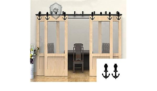 8 – 20 M de color negro rústico puerta corrediza de granero madera Hardware armario Kit de 4 puertas (10ft, forma de ancla): Amazon.es: Bricolaje y herramientas