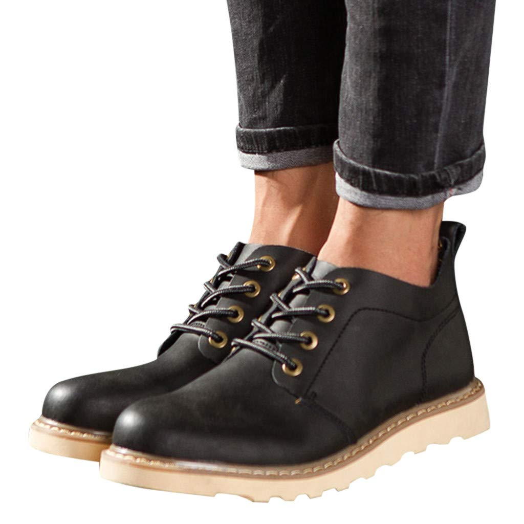 Respctful✿ Men's Casual Lace-up Cap Toe Boots Genuine Leather Oxfords Dress Ankle Boots with Zipper Black