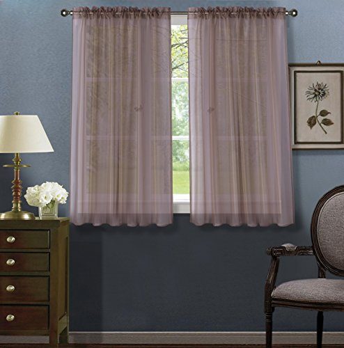 """Luxury Discounts 2 PC Solid Rod Pocket Sheer Window Curtain Treatment Drape Voile Panels In Variety Of Colors (55""""x45"""", Taupe)"""
